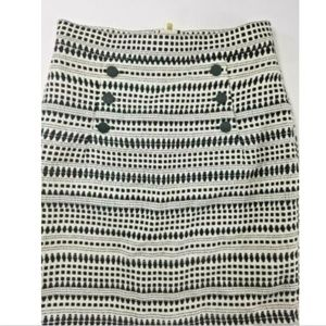 H&M Pencil Skirt Button Detail BLACK WHITE Size US